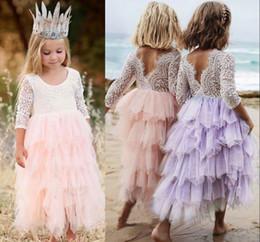 15d1f6528b7 детские платья для девочек Скидка Лето прекрасный ребенок девочка цветок  платье Принцесса конкурс кружева тюль маленькие