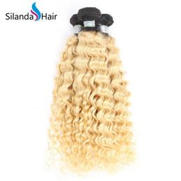 Pacote de cabelo humano on-line-Silanda Cabelo Dois Tons # T 1B / 613 Trama Do Cabelo da Onda Profunda Brasileira Remy Tecer Cabelo Humano Tecelagem Pacotes 3 pcs por pacote Frete Grátis