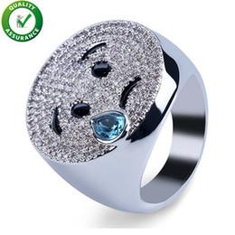 2019 emoji geschenke Hip Hop Mens Diamant Ring Luxus Designer Schmuck CZ Emoji Simle Ringe NightClub Geometrie Weinen Finger Ringe Jungen Bling Rock Hochzeitsgeschenk günstig emoji geschenke