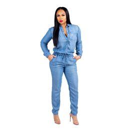 291594b484b plus size bodysuits rompers 2019 - Fashion Spring Women Jeans Jumpsuits  Lace Up Plus Size Bodysuits