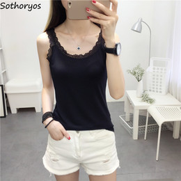 simple woman style clothing Promo Codes - Tanks Women Solid Simple All Match Comfortable Womens Clothing Tank Tops Korean Style Harajuku Females Daily Casual Slim Fit