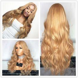 2019 peluca rubia de onda larga Venta caliente 27 # Golden Blonde Body Wave Peluca delantera del cordón sintético Fibra de alta temperatura Cintura natural Ondulado largo pelucas naturales para mujeres peluca rubia de onda larga baratos