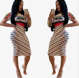 2019 beste lässige sommerkleider Bestseller Casual Kleid für Frauen Kleider Designer Kleid Sommer Mode Frauen Kleider sexy FF Digital Alphabet gedruckt Kleider bodycon dre günstig beste lässige sommerkleider