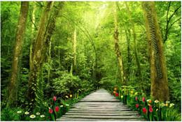 3d natur tapeten Rabatt Benutzerdefinierte 3D Fototapete 3D Wandbilder Tapeten Frische schöne Natur Wald Baum Wandbild Hintergrund Tapeten Wohnkultur