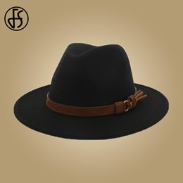 b06122aa093de mens panama hats Promo Codes - FS Mens Hats Fedoras Wool With Leather  Ribbon Gentleman Elegant