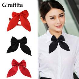 Giraffita 1 pc mulheres tie borboleta vermelha das mulheres bow tie nó preto feminino menina estudante estalajadeiro hotel garçonete neckwear fita laços de