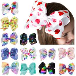 Перьевые ленты онлайн-8 дюймов Baby Girl Дети волосы лук бутик Grosgrain ленты клип заколка для волос Большой Бантом Вертушка Заколки Заколки Аксессуары для волос украшения Q