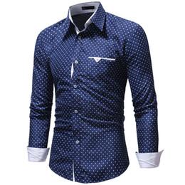 Moda uomo casual manica lunga camicia a pois moda tasca design tessuto morbido e confortevole da uomo vestito slim fit stile da