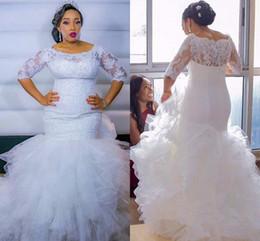 2020 falda media sirena Robe De Mariage Sirena africana tallas grandes Vestidos de novia 2019 Media manga de encaje con gradas en cascada de volantes Falda Vestidos de novia falda media sirena baratos