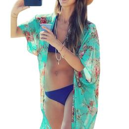 Traje de baño kimono online-Nuevo Para mujer Traje de baño Ropa de playa Bikini Ropa de playa Cubrir Kaftan Camisa de verano Vestido de gasa kimonos cardigans de playa florales vestido con mangas