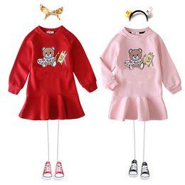 2019 vestido de rayas rojas blancas para niños Primavera nueva chica viste 3 chicas de color de manga larga volante niños del vestido del bebé suéter con capucha Carta de ropa de diseño niños niñas enlace J10