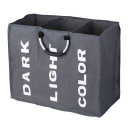 3 Sections Grand Oxford Pliable Panier à Linge Noir Panier Sale Vêtements Sac De Rangement Organisateur Avec Poignées En Aluminium C19041701