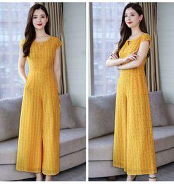 2019 macacão de bambu versão coreana do 2019 novo chiffon calças wide-perna terno listrado feminino da cintura temperamento longa macacão, apoiar lote misto