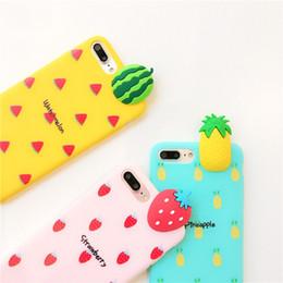 2019 cajas de teléfono de frutas Dibujos animados 3D Frutas DIY caja del teléfono para el iPhone XS X 6 6 s 6 7 8 Plus Banana Piña Frutas Soft TPU teléfono contraportada regalo cajas de teléfono de frutas baratos