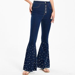 bouton du bas jeans femmes Promotion Stretch Hight taille Big Flare Jeans pour les femmes Taille Plus de Bell Bottom Wide Leg Jeans Pearls Push Button Up Denim