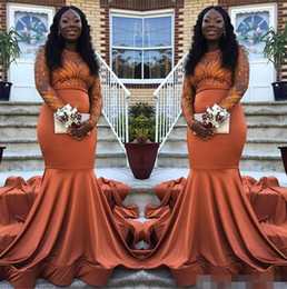4f695673268 2019 Dark Orange Prom Dresses Jewel Neck Long Sleeves Elastic Satin Lace  Applique Black Girl Evening Formal Wear Party Gowns Plus Size