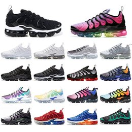Argentina Nike Vapormax plus tn Con la mejor calidad CalcetinesVapormaxTN Plus hombres de las mujeres de los zapatos corrientes Deportes Triple Negro Hyper violeta del arco iris para hombr Suministro