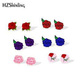 2019 fiori blu romantici New Rose Acrylic Earring Red Pink Blue Rose Orecchini in resina Arte romantica Fiori Shrinky Dinks Orecchini Ear Stud Love