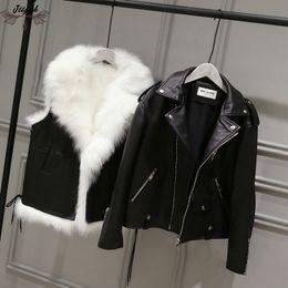 zorros de revestimiento Rebajas 2018 Faux Fur Chaqueta de cuero con forro de Fox Abrigo de invierno Parka Mujeres Motocicleta leathe chaqueta chaleco de abrigo de piel sintética 2 piezas set 601