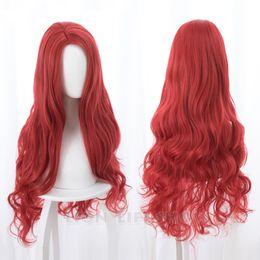 Parrucca rossa dei capelli di anime online-Parrucca Cosplay Aquaman Mera American Anime Movie 85 centimetri lunghi ricci ondulati termoresistenti capelli sintetici donne Costume Party parrucca rossa