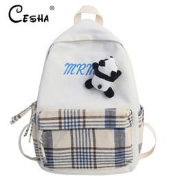 Bonitas mochilas para meninas on-line-Saco bonito do estilo Meninas Viagem Mochila de alta qualidade durável lona Mochila Escolar Moda adolescente escola com Panda Pendant