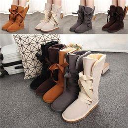 Высокие меховые сапоги онлайн-Новой австралийской стиль дизайнер сапоги Женщина Tall Snow Boots Riband кожа Зимняя обувь Женщина \ 's Fur Snow Boots Марка ИКА