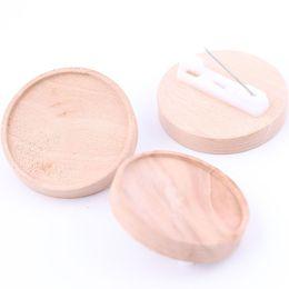 Brosche online-Shukaki Fit 25mm Runde Cabochon Holz Brosche Basis Einstellungen Diy Wooden Blank Lünette Trays für Broschen machen