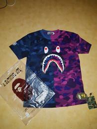 juegos de chica americana Rebajas 2019 Moda de Verano Camisetas para Hombres Tops Camiseta de Patrón de Boca de Tiburón Ropa de Hombre Camiseta de Manga Corta Camiseta Casual