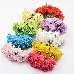 mini flores de seda para artesanato Desconto 12pcs / lot Silk Mini Pérola Daisy flores artificiais Ramalhete para Casamento Casa decorativa DIY Craft falsificação flor Scrapbooking grinalda
