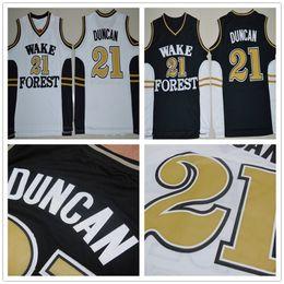 Chemises de démon en Ligne-Maillots de basket-ball universitaires College NCAA Wake Forest Demon de la démone Tim Duncan # 21 Noir et blanc Chemise de sport universitaire Patchs brodés