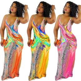 Robes de sol xxl en Ligne-2019 Été Coloré Motif Impression Femmes Robes Longues Bretelles Cou Sans Manches Mermaid Robe De Plage Casual Moulante Etage Longueur Longueur Haute Qualité