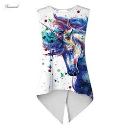 2019 pintura batik Verão Mulheres Camis Regatas do arco-íris Paint Horse Pigment Unicorn Impresso Ladies assimétrica Bandage Magro Vest pintura batik barato