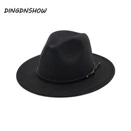 2019 berretto da jazz  DINGDNSHOW  Cappello vintage Fedora in lana a tesa  larga Jazz f2af72ed7db6