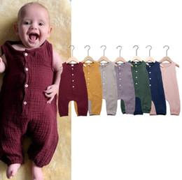Ropa de bebé online-2019 verano ropa de boutique de moda de la muchacha del bebé mameluco color sólido sin mangas de la ropa mono subida infantil