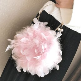 fluffy bags Coupons - Limited Sale Plush Female bag 2017Fashion New Women Handbags Quality Soft Fluffy Plush Elegant Ladies Chain Round Shoulder bag