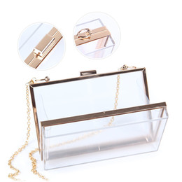 Transparente kreuzschultertasche online-Acryl Transparent Box Abend Kupplungen Umhängetasche Cross-Body Purse Party Bag