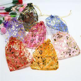 burgunder geschenk taschen Rabatt 20x30cm Rose Organza Beutel Goldfaden Kordelzug Weihnachtsgeschenk-Tasche 13.8