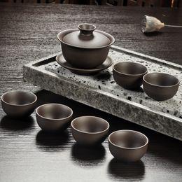 Vendas quentes Yixing Roxo conjunto de chá de areia preto / vermelho de cerâmica kung fu Bule, handmade Roxo bule de areia xícara de chá gaiwan Tureen cerimônia do chá de Fornecedores de presente da bacia de peixes