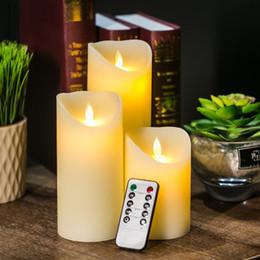 Pilastro d'avorio online-3pcs / lot Telecomando LED Candela Candele di Colore Avorio Pilastro con Timer Velas Bougie per la Decorazione di Cerimonia Nuziale Festa di Casa