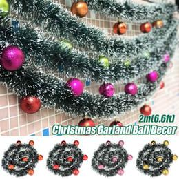 Rosa decorado arbol de navidad online-7 colores 2m Navidad Hoja rota Garland de lujo flor del Bowknot bolas decorado grueso chimenea de la chimenea de la guirnalda del árbol de pino