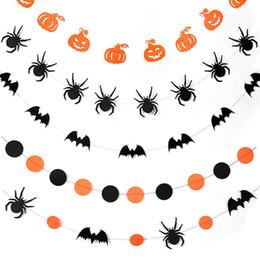chauves-souris de papier d'halloween Promotion Halloween fête décoration bannière citrouille chauve-souris araignée forme Tenture murale papier guirlande décoration de la maison Halloween fournitures DBC VT0552