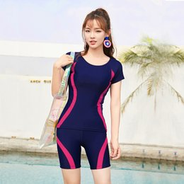 99c282145f5 Navy Blue Bathing Suit 4 Colors Short Sleeves Swimwear Women Plus Size  Swimsuit Two-Piece Separated Summer Beach Wear Tankini Great Stretch