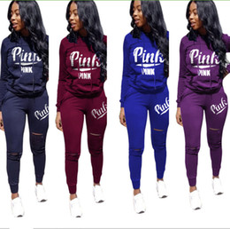 623b1589ce13ae Pink letter burn-out Tracksuits Ripped Hoodie Sweatshirt suits 2 pcs set  love pink Pullover Sweater+ Rips Hole Leggings Sportswear Outfits