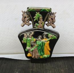 Antiquités de porcelaine en Ligne-Pastel République de Chine empilée bouteille de huit cents personnages carrés antiquités porcelaine ancienne sculpture ancienne ornements à la main en porcelaine