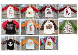 ropa de bebé niño lunares Rebajas Niños de Halloween del bebé camisetas de algodón camisa de lunares volante de manga larga para niños, calabaza del bebé Ropa Niños Niñas T navidad camisa de A101001