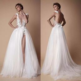 v profundo vestido de praia pescoço Desconto 2020 do casamento de praia Vestidos A Linha V profundo Neck Lace 3D Applique Tulle vestidos de noiva Trem da varredura alta Dividir vestidos de casamento