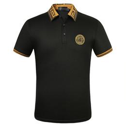 Camisetas de algodón polo online-bordado de algodón de manga corta camiseta de la solapa del polo original de la camisa de polo del diseñador camisa masculina populares modelos de primavera y verano de los hombres