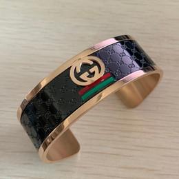 Marcas famosas pulseira on-line-Novo design de alta qualidade famosa marca grande titanium aço 18k rosa de ouro preto de largura grandes pulseiras pulseiras para homens mulheres tamanho livre verde vermelho