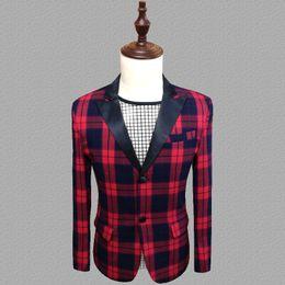 2019 roupas masculinas estilo rock Treliça blazer homens ternos projetos jaqueta mens trajes de palco para cantores roupas dance star estilo vestido de punk rock masculino homme desconto roupas masculinas estilo rock
