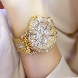 2019 relógios de senhora Falso de três olhos cheios de diamantes relógio de moda das mulheres dinheiro conjunto com crystal flash pulseira relógio de cristal desconto relógios de senhora